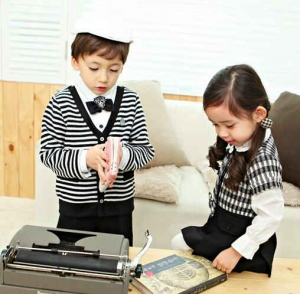 Baju model seragam korea AidaKids Stripe Boys Girls